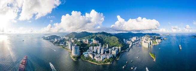 Photo sur Aluminium Hong-Kong Aerial view of South side of Hong Kong Island, Daytime