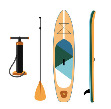 Inflatable sup board isolated illustration. Paddle board