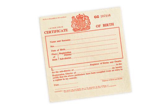 Birth Certificate, United Kingdom