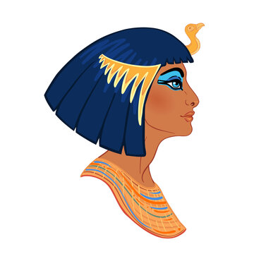 Egyptian queen Cleopatra isolated on white background. Queen of Egypt, one of the most famous women in history. Illustration isolated in vector.