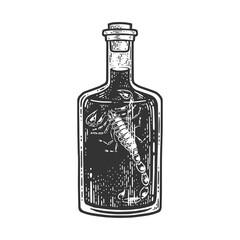 scorpion vodka wine sketch engraving vector illustration. T-shirt apparel print design. Scratch board imitation. Black and white hand drawn image.