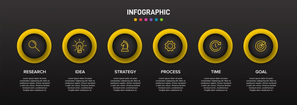 Concept of arrow business model with 6 successive isometric steps. Six colorful graphic elements. Timeline design for brochure, presentation. Infographic design layout