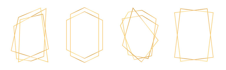 Fototapeta Set of golden geometric frames in art deco style. Luxury gold frames or borders for wedding invitations and wedding cards. Abstract geometric shapes obraz