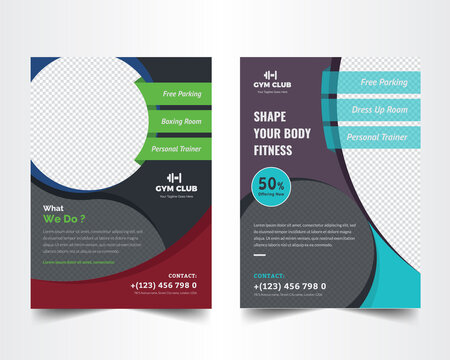 Fitness and gym workout flyer template . Shape Your Body Concept Design