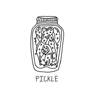 Glass jar of marinated pickles vector icon. Hand drawn illustration of preserved food.