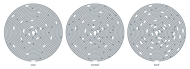 Radial labyrinth maze vector design, children game to play, find way out.