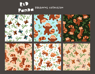 Set of seamless patterns with red panda. Vector graphics.