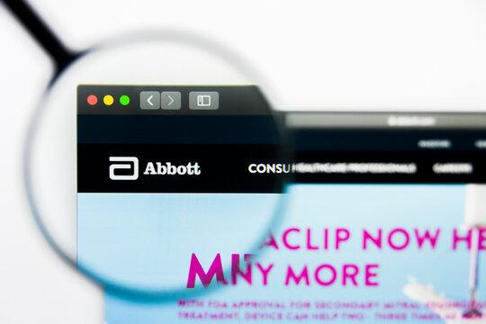 Los Angeles, California, USA - 25 March 2019: Illustrative Editorial of Abbott Laboratories website homepage. Abbott Laboratories logo visible on display screen.
