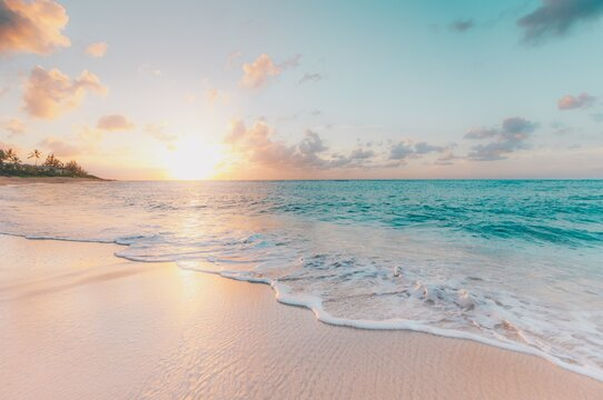 sunset on the beach, sunset, beach, summer, sun over the sea