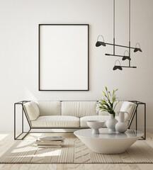 Foto auf Leinwand Dinosaurier mock up poster frame in modern interior background, living room, Scandinavian style, 3D render, 3D illustration