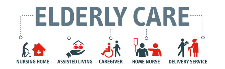 Elderly care vector illustration concept with icons