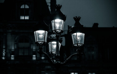 Low Angle View Of Illuminated Street Light At Night Fotomurales