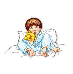 Junge Kind Baby Schlafanzug blau gestreift liegen barfuß Bett nachts Teddy im Arm halten Augen  ängstlich verstört verunsichert Blick nach oben Mund offen Angst erschreckt Bedrohung Missbrauch