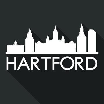 Hartford Flat Icon Skyline Silhouette Design City Vector Art Famous Buildings.