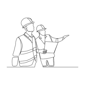 Continuous line drawing of contractor manager discussion and giving instruction to foreman builder holding blueprint and safety helmet. Vector illustration