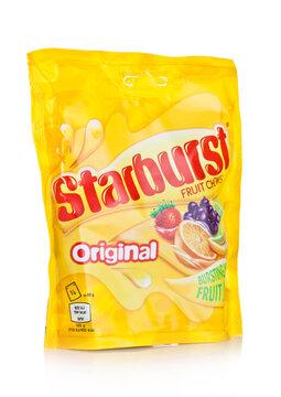 LONDON, UK -DECEMBER 07, 2017:  Starburst candy fruit chews pack on white.