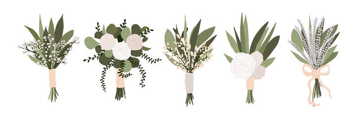 Set of wedding bouquets with flowers rose, lavender eucalyptus green leaves isolated on white background. Boho bridal wedding arrangements vector illustration in cartoon flat style