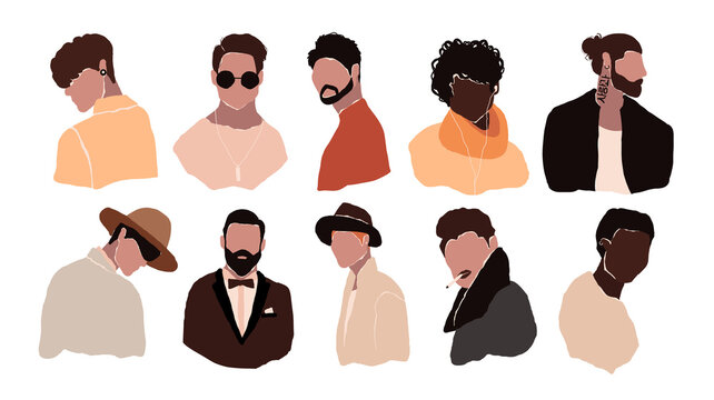 Set of abstract man portraits isolated on white background. Modern young brutal man fashion minimal trendy people face in flat style. Vector hand drawn illustration