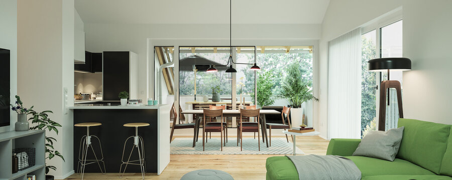 view inside modern luxury attic loft apartment with kitchen and sofa - 3d rendering