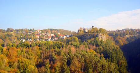 Hohnstein, panorama in Saxon Switzerland landscape in Germany during autumn season