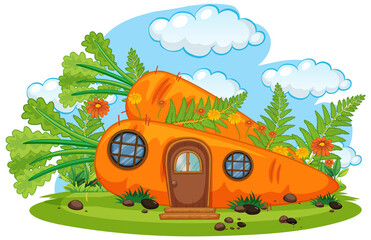 Isolated fantasy carrot house