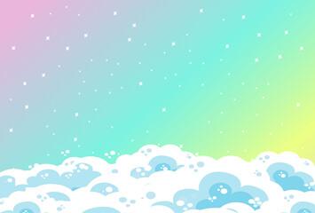 Photo sur Plexiglas Vert corail Blank rainbow pastel sky background with clouds