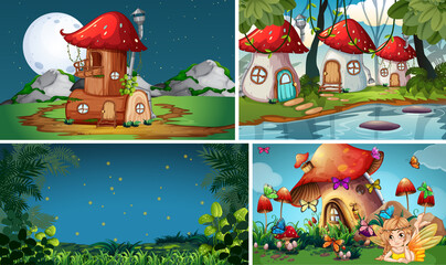 Fotorolgordijn Kids Four different scene of fantasy world with fantasy places and fantasy characters such as mushroom village