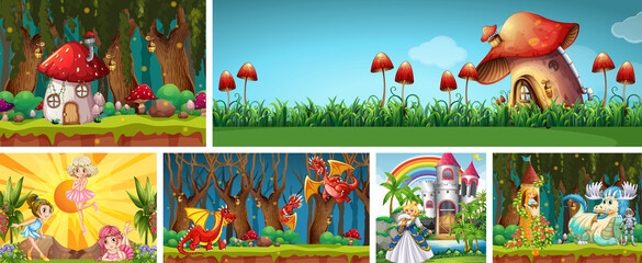 Photo sur Plexiglas Jeunes enfants Six different scene of fantasy world with fantasy places and fantasy characters such as dragons and mushroom house