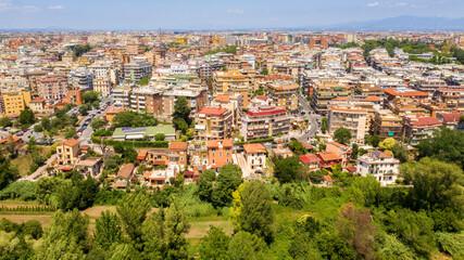 Aerial view of Via Tuscolana in Rome from the Caffarella park