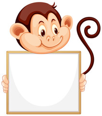 Printed roller blinds Kids Blank sign template with cute monkey on white background