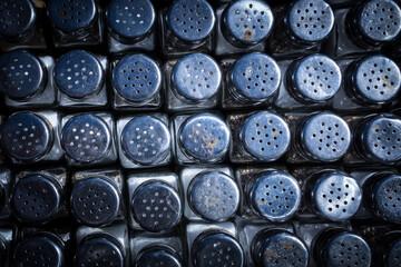 Full Frame Shot Of Salt And Pepper Shakers