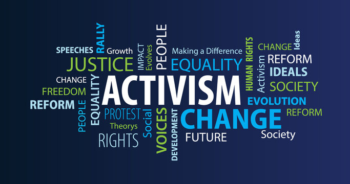 Activism Word Cloud on a Blue Background