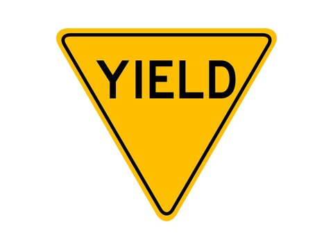 """isolated yield sign with the text """"YIELD"""" on yellow round triangle board. flat vector design. infographic style"""