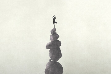 illustration of person meditating on a unstable stone's tower, zen concept