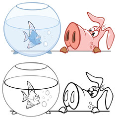 Vector Illustration of a Cute Cartoon Character Pig for you Design and Computer Game. Coloring Book Outline Set