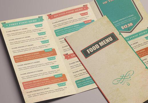 Vintage Food Menu Trifold Layout