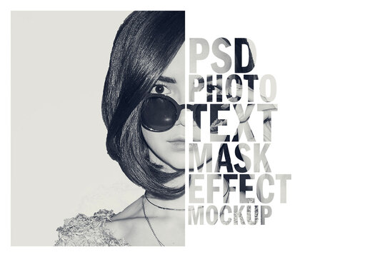 Photo Text Mask Effect Mockup