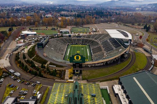 Aerial of Autzen Stadium in Eugene, Oregon