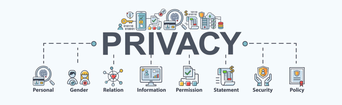 Privacy banner web icon for personal and data protection, gender, relation, information, permission, statement, policy, safety and cyber security. Minimal vector infographic.