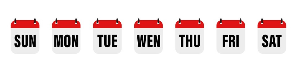 Calender , days of the week. Set every day a week . Vector icon. Flat, red and white calendar, icon set for the week.