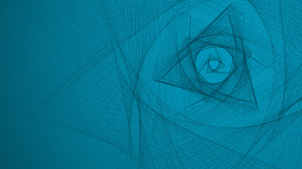 Abstract geometric gradient background with interwoven linesand triangles. 16:9 Aspect Ratio.Vector illustration.