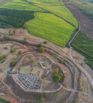 Aerial view of celtic settlement in Galicia. Spain. Drone Photo