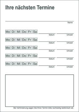 Vorlage Terminblock / Terminzettel / Bestellkarte - Arzt, Physiotherapie, Friseur, Kosmetik - einfach weiß - DIN A7 Hochformat
