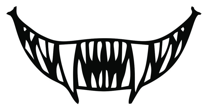 Vector image of an evil smile with sharp teeth
