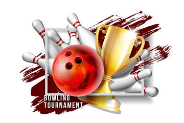 Bowling Game Award. Bowling Ball with and white bowling pin and Golden Cup.