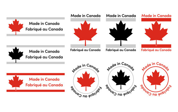 Made in Canada with maple icon labels badge logos sticker in English and French for Canada-made products