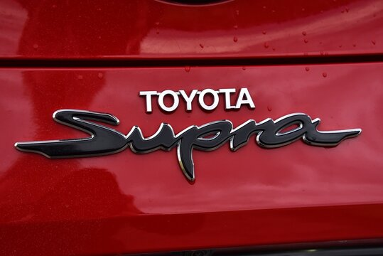 Toyota Supra. Sports car on a country road. Sign detail. 01-28-2020, Middle Bohemia, Czech Republic.