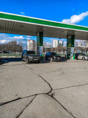 Moscow region, Russia - March, 9, 2020: the image of a petrol station