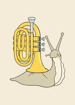 Snail with a trumpet instead of his shell