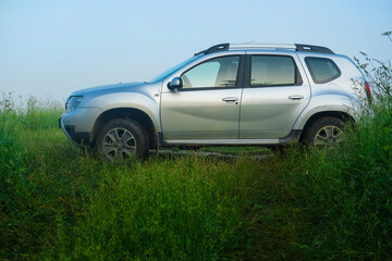 Moscow region, Russia - June, 19, 2020: image of Renault Duster in nature